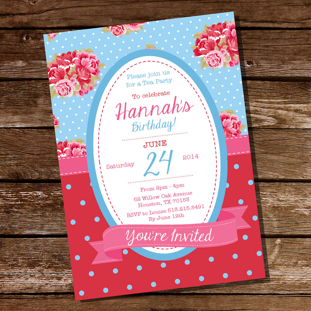 Bright Shabby Chic Tea Party Invitation | Shabby Chic Floral Invite Template