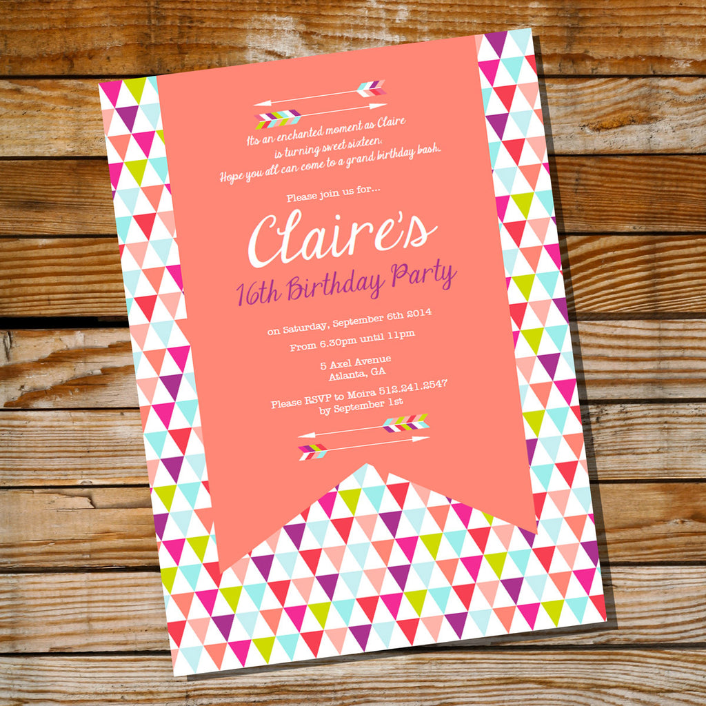 Coral Tribal Arrow Birthday Party Invitation