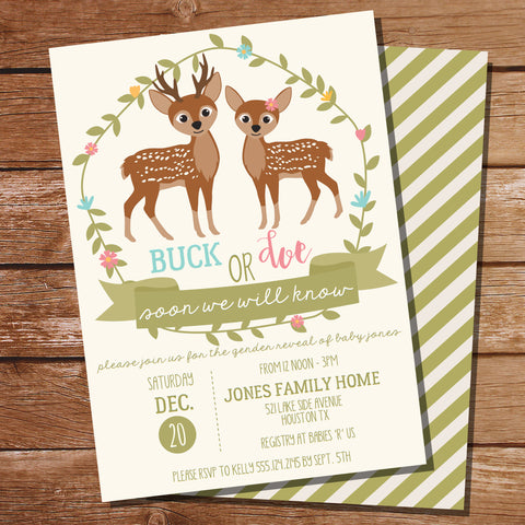 Buck or Doe Gender Reveal Party Invitation Woodland