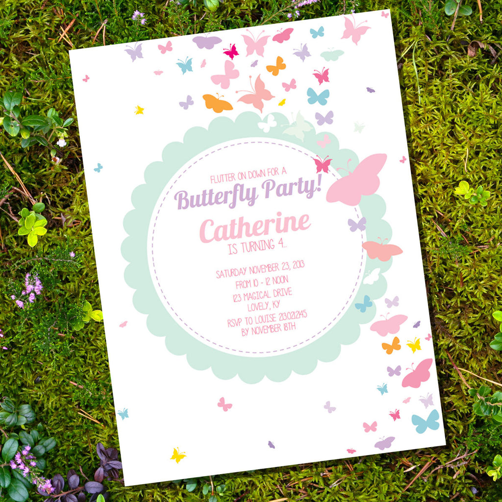 Pastel Butterfly Birthday Party Invitation | Butterfly Party Invite Template