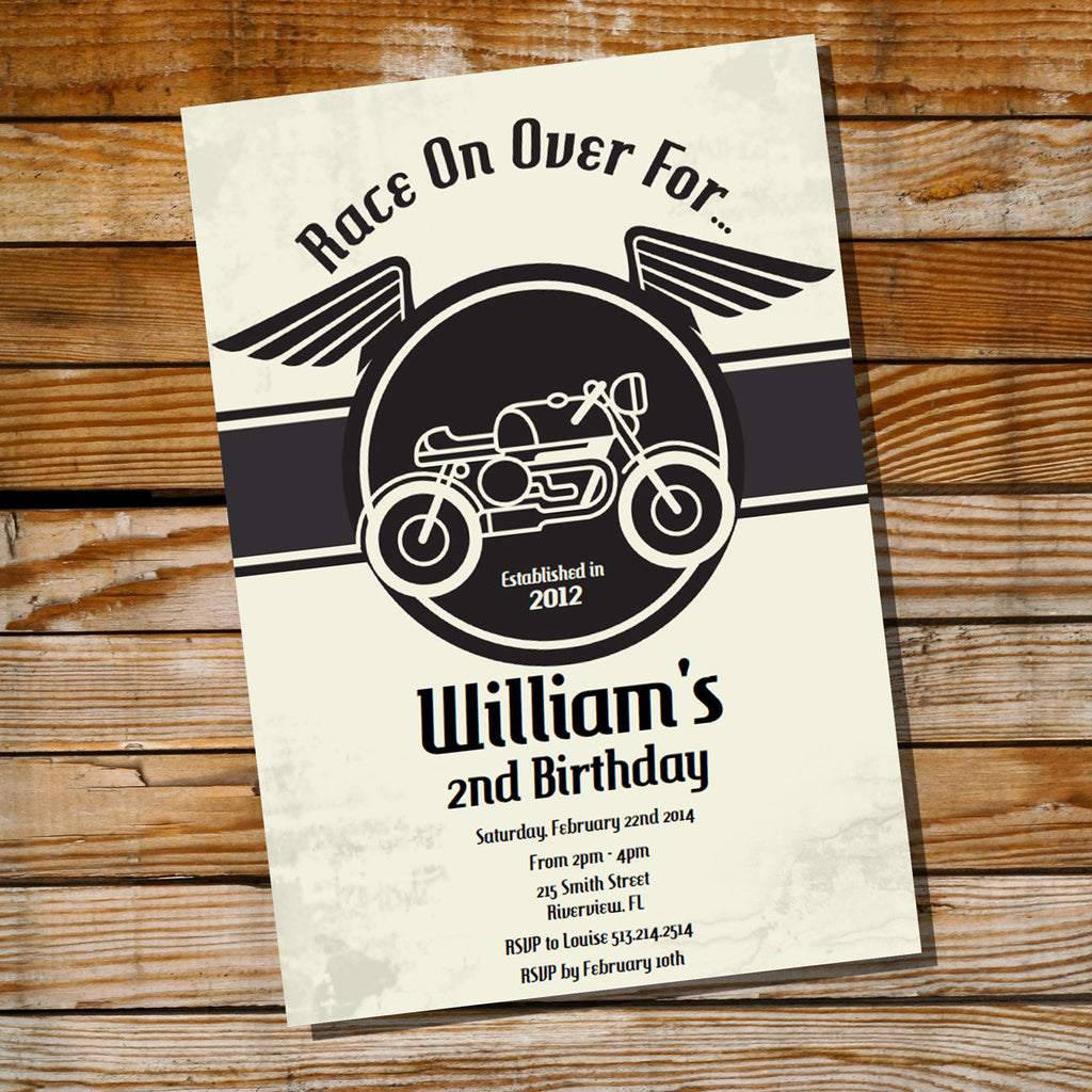 Cafe Racer Vintage Motorbike Birthday Party Invitation