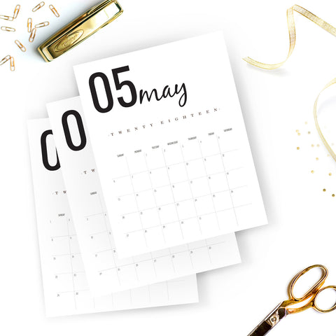 2018 Calendar Planner in Black and White