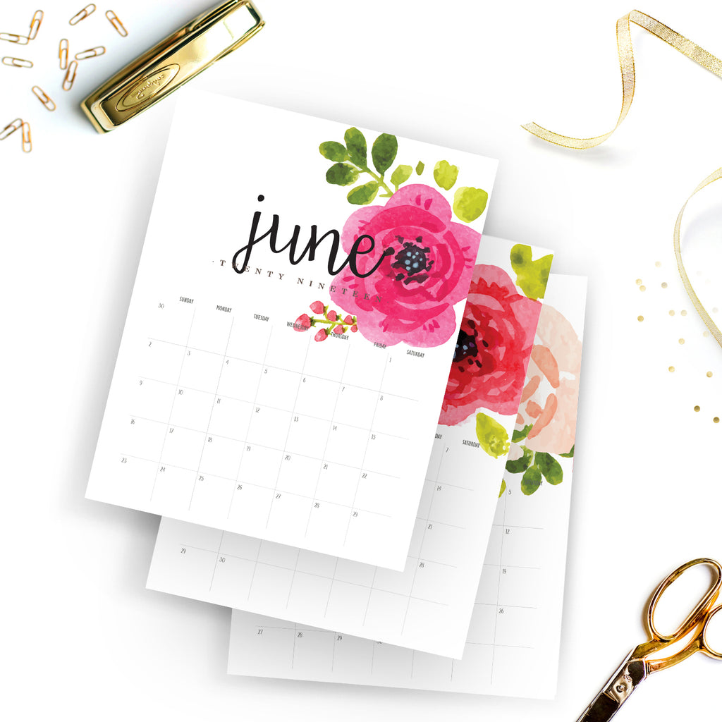 picture relating to Watercolor Printable referred to as Printable 2019 Regular monthly Calendar Watercolor Planner Calendar
