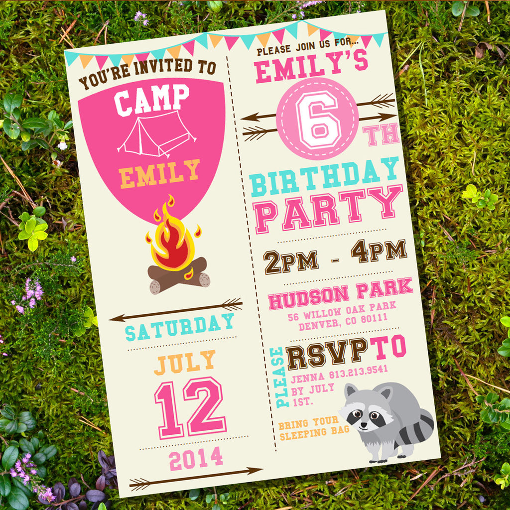 Camping Party Invitation for a Girl | Glamping Invitation | Summer Campout Invite