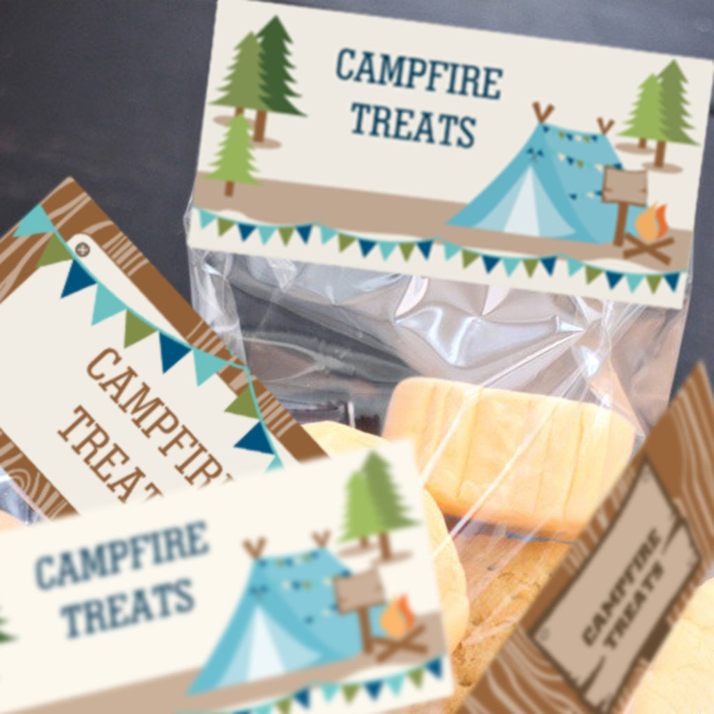 Boys Camping tent party treat bag toppers for campfire treats