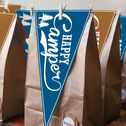 Camping party 'Happy Camper' flags look fabulous as a party favor tag on a bag of party goodies