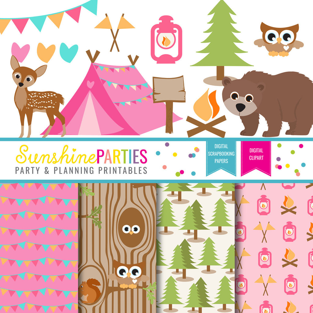 Girls Camping Party Clipart and Digital Paper Set | Camp Out Glamping Printables