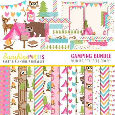 Girl's Camping Clip Art and Digital Papers set
