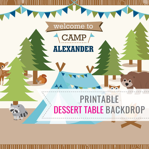Camping Party for a boy - printable dessert table backdrop or background