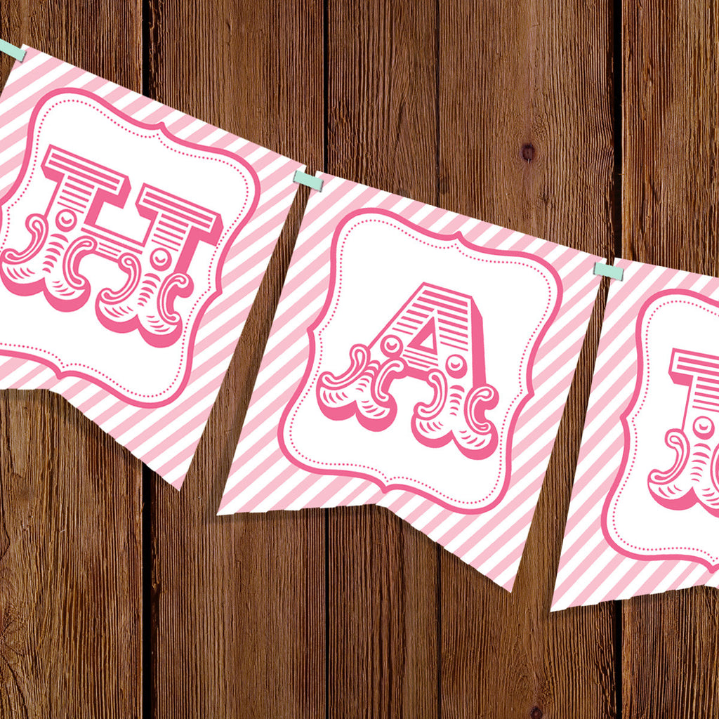 Carousel Party Happy Birthday Banner For A Girl
