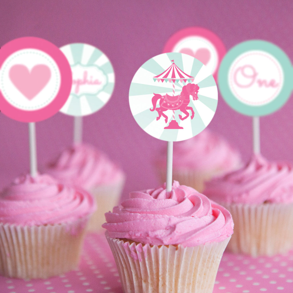 Carousel Birthday Party Cupcake Toppers For A Girl