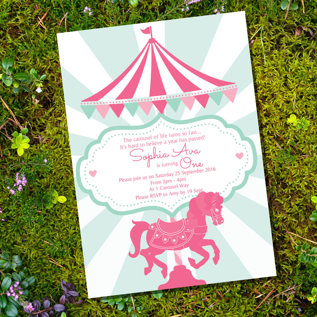 Carousel Birthday Party Invitations For A Girl