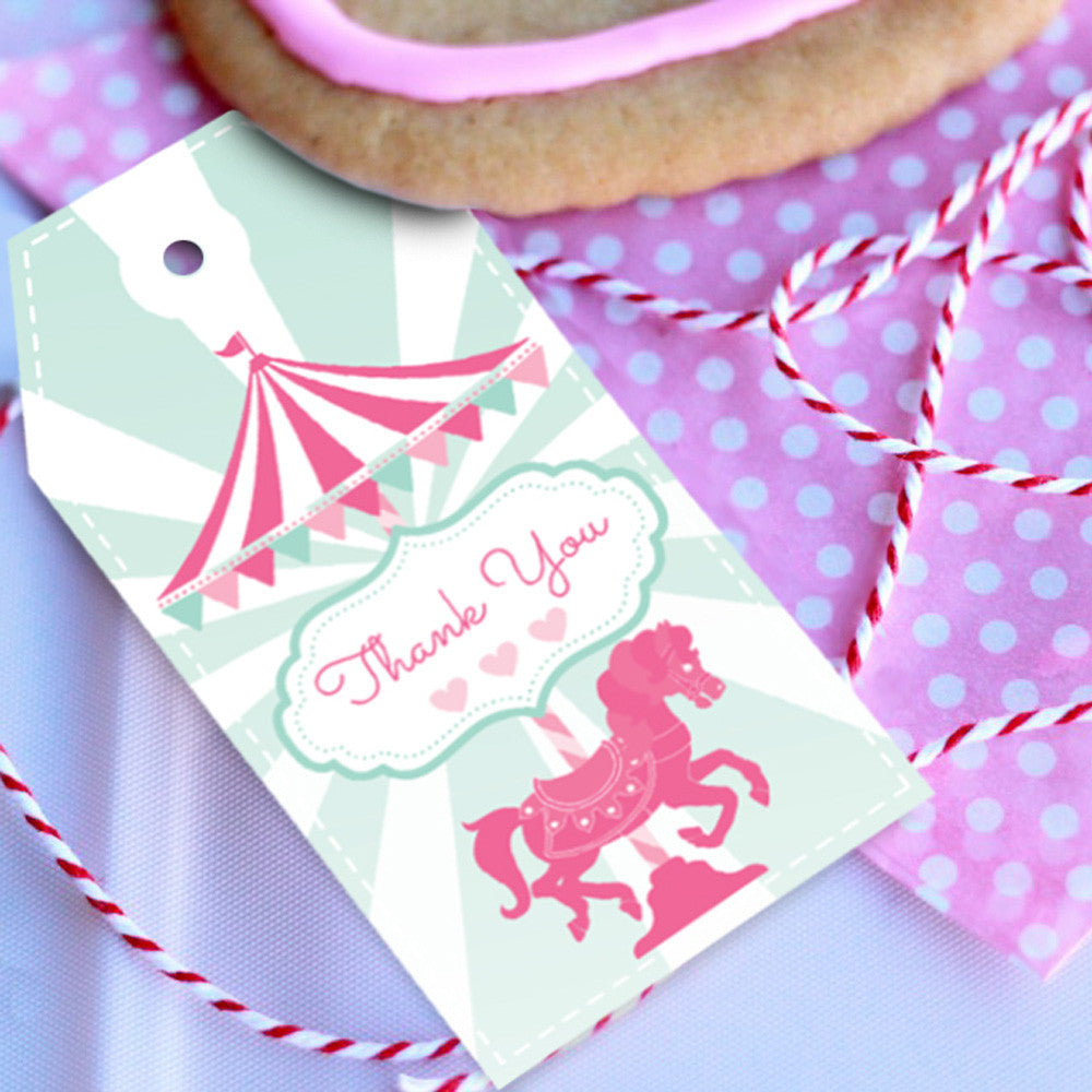 Carousel Birthday Party Favor Tags For A Girl