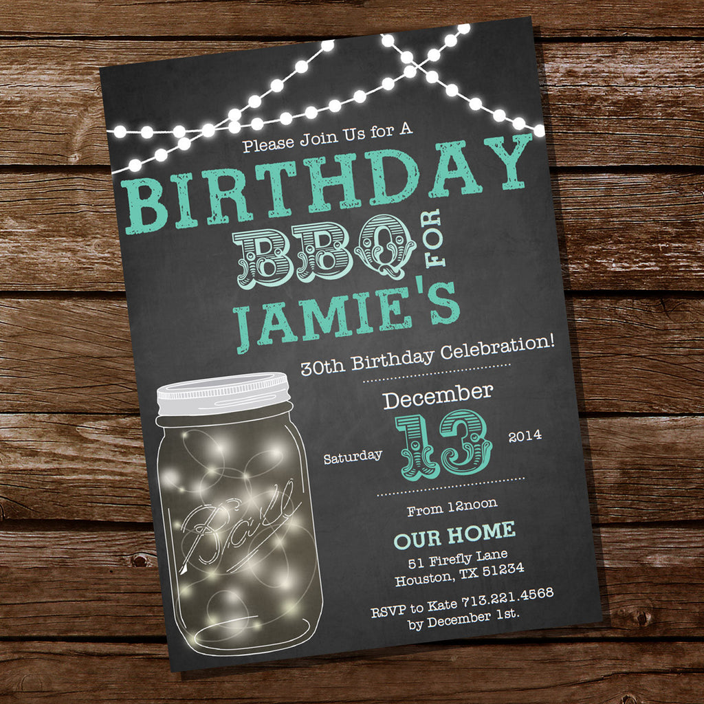 Mason Jar Chalkboard BBQ Birthday Invitation