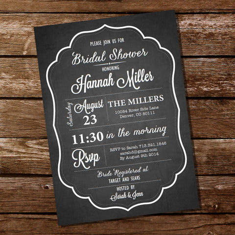 Chalkboard Bridal Shower | Bachelorette Invitation