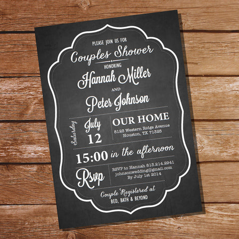Chalkboard Couples Shower Party Invitation
