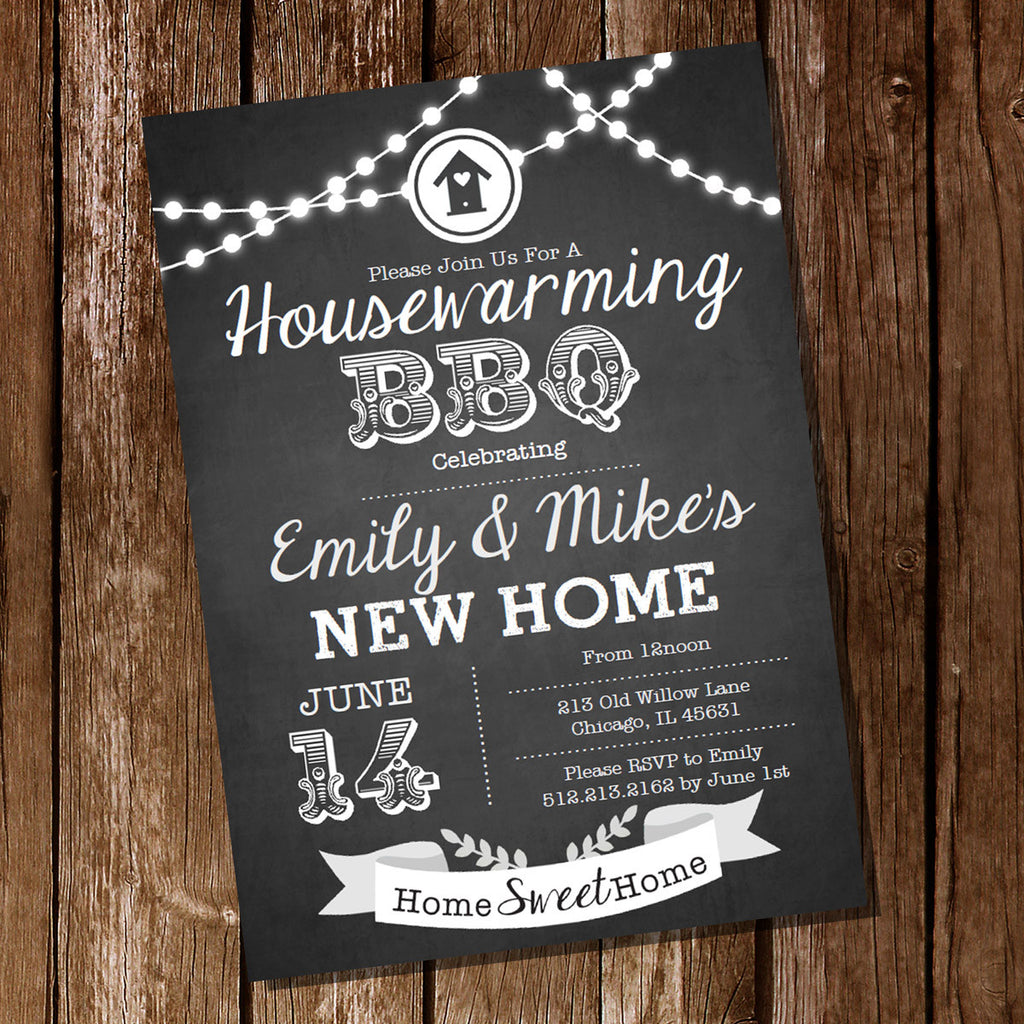 Chalkboard Housewarming BBQ Home Sweet Home Invitation