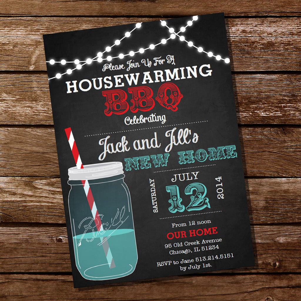 Housewarming Mason Jar BBQ Grill Party Invitation