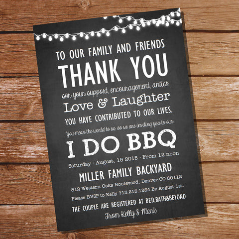 Chalkboard Couples Shower BBQ Invitation | I Do Bbq Invitation