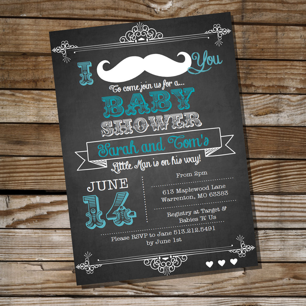 Chalkboard Mustache Baby Shower Invitation – Sunshine Parties