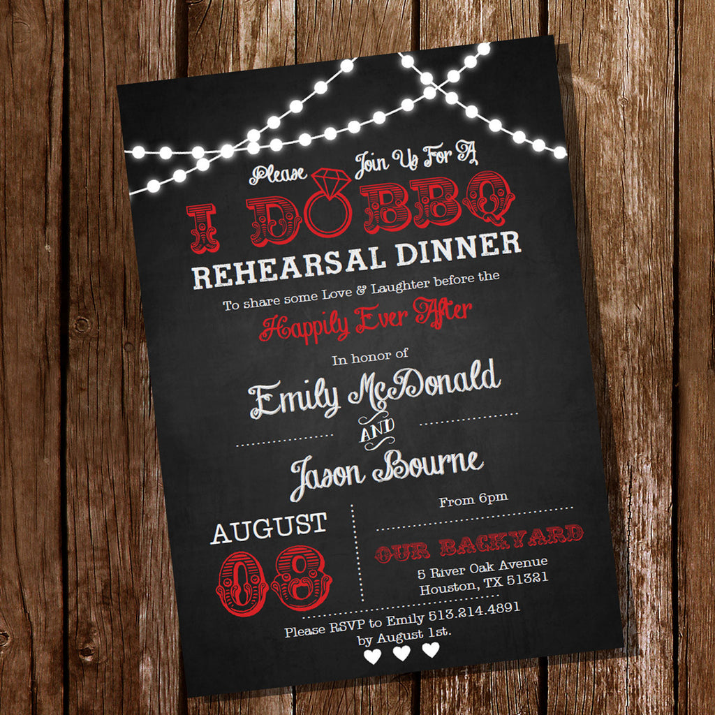 Red I Do BBQ Rehearsal Dinner Invitation