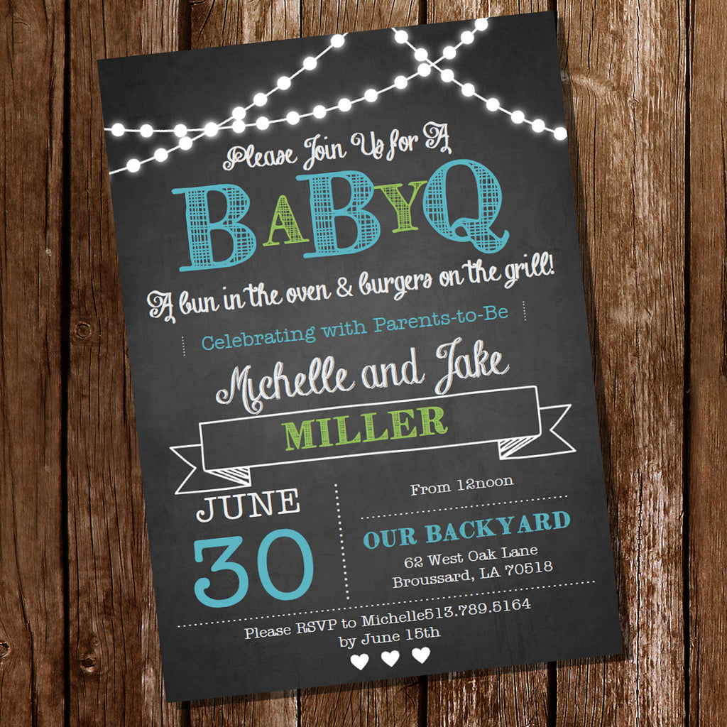 Chalkboard BaBy-Q Baby Shower for a Boy | BBQ Baby Shower Invitation