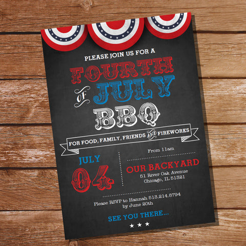 Fourth of July BBQ Invitation Chalkboard
