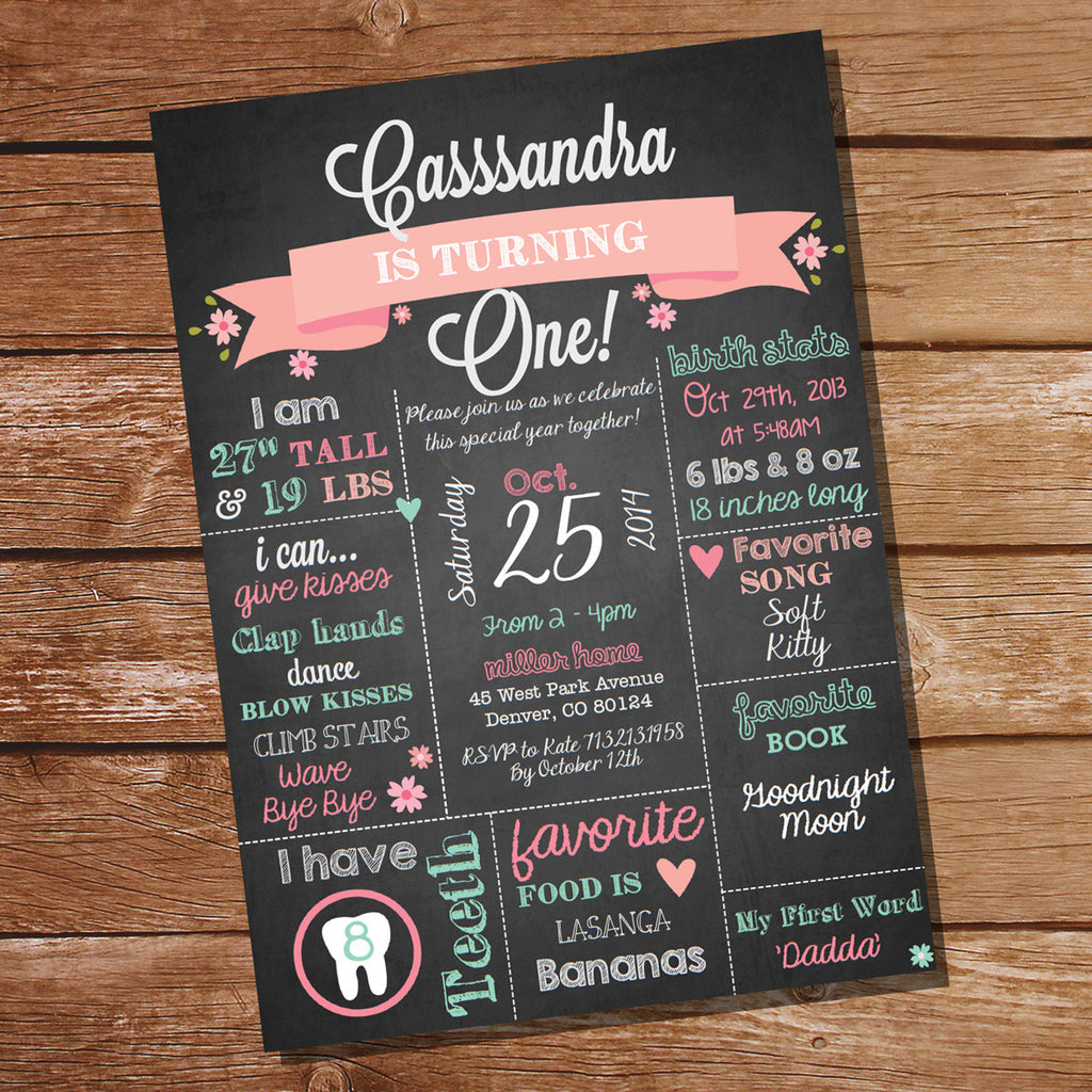 Chalkboard First Birthday Party Invitation For A Girl