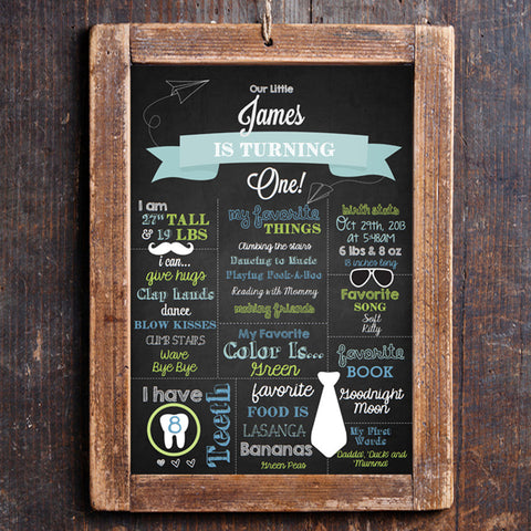 Chalkboard First Birthday Party Poster | First Birthday Sign