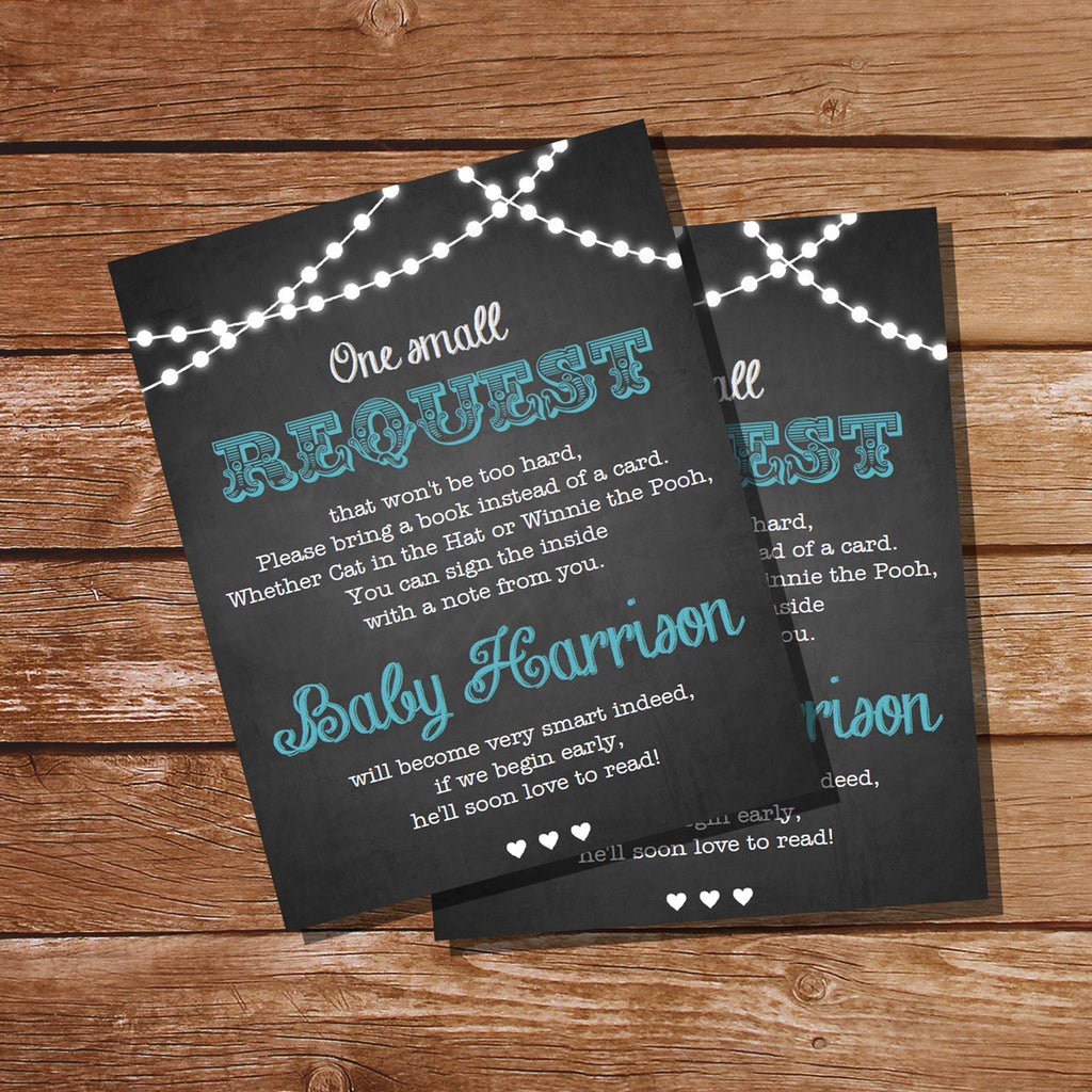 Chalkboard BBQ Baby Shower Book Insert for a Boy