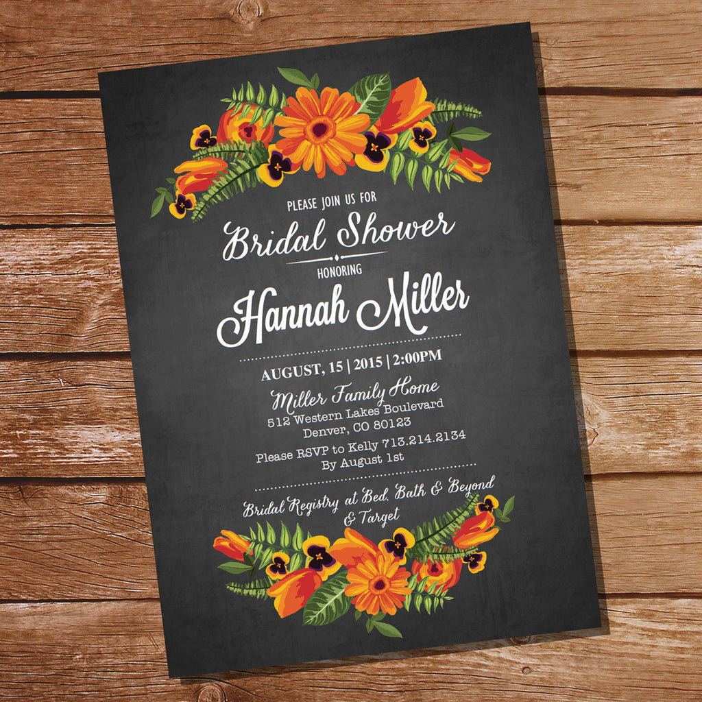 Chalkboard Floral Bridal Shower Invitation