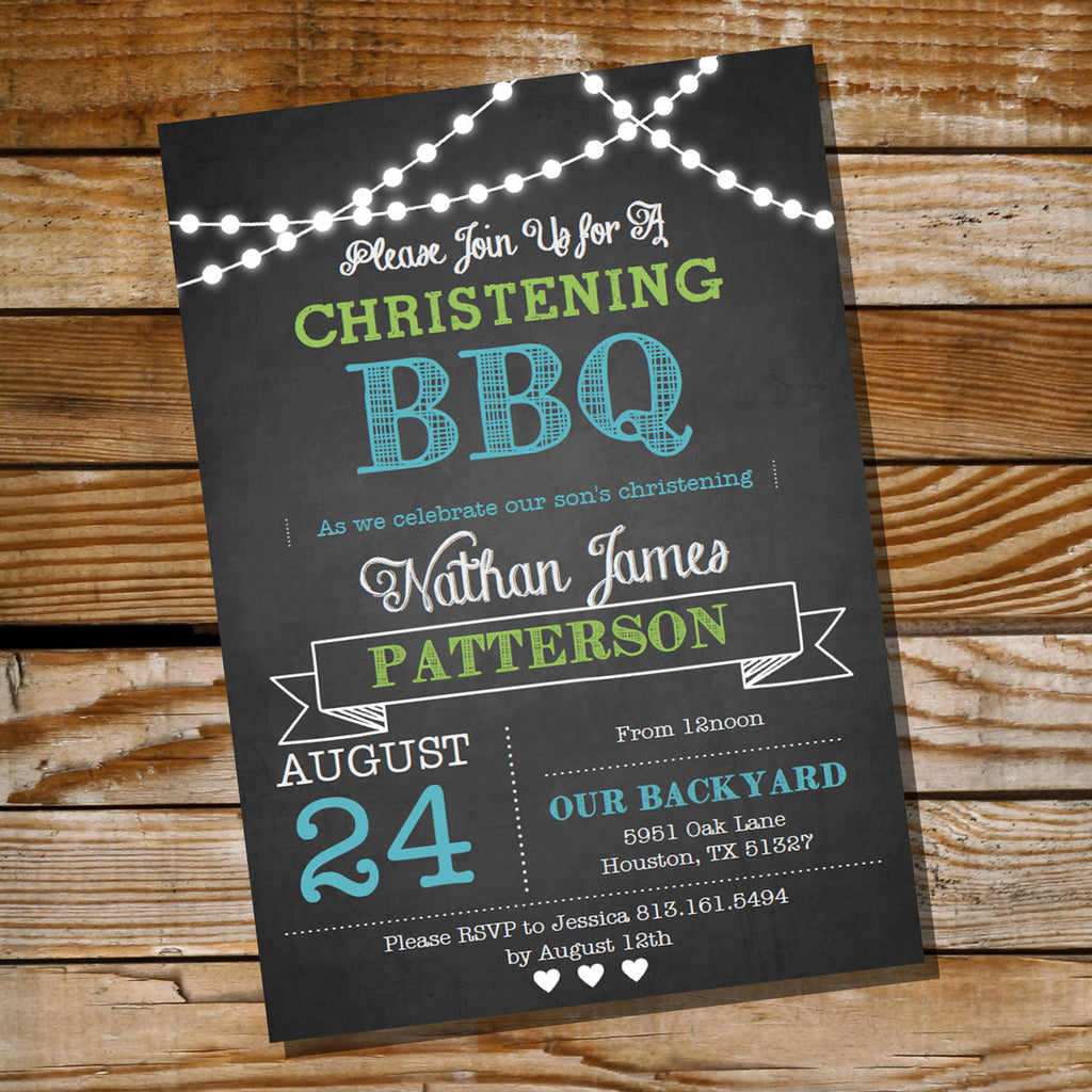 First Communion / Baptism / Christening BBQ Invitation for Boys