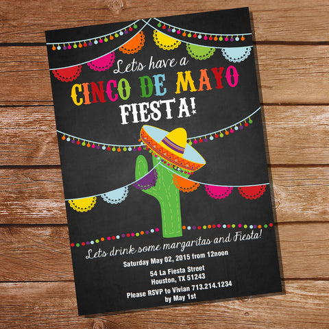 Chalkboard Cinco De Mayo Fiesta Invitation | Mexican Fiesta Invitation