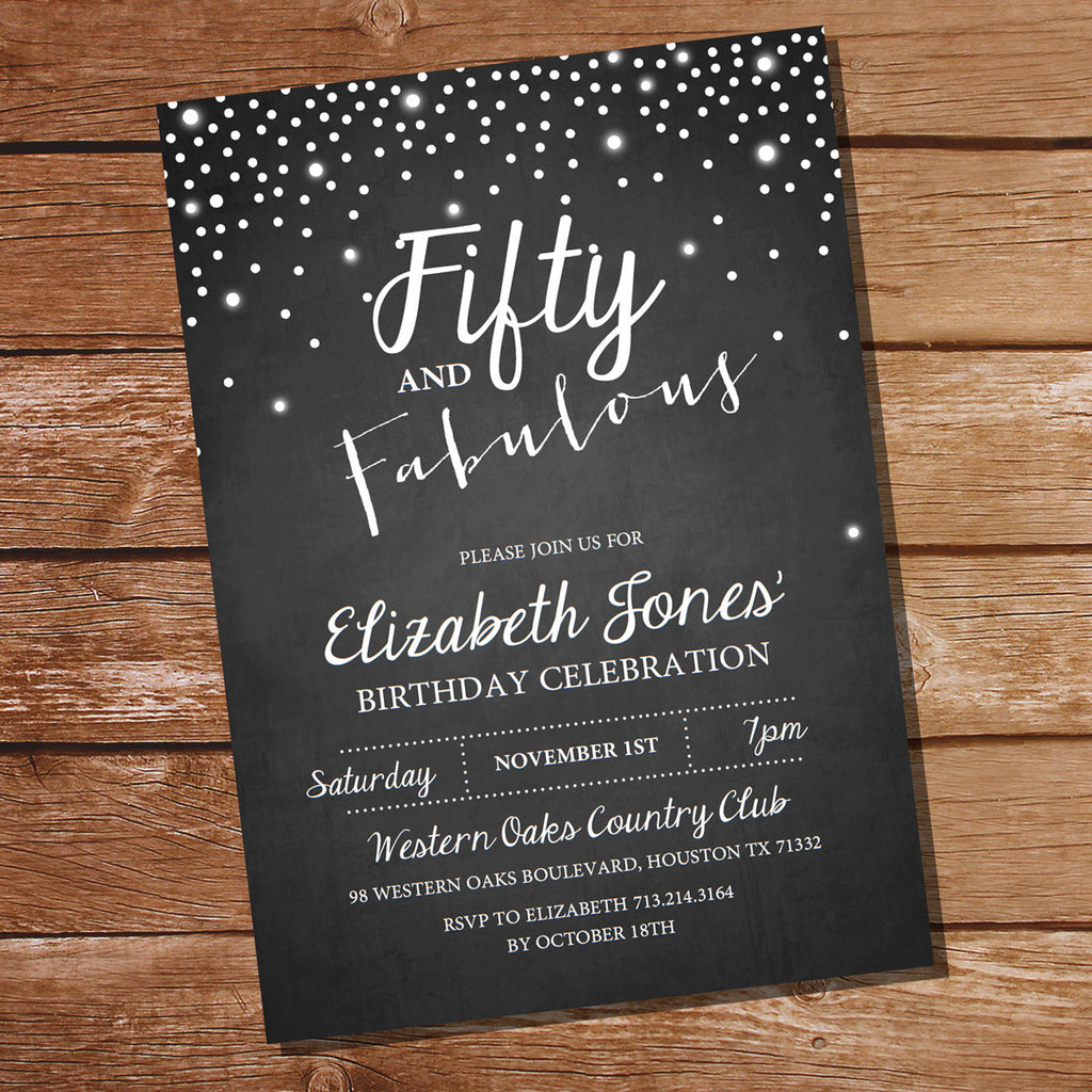 Fifty and Fabulous Chalkboard Invitation