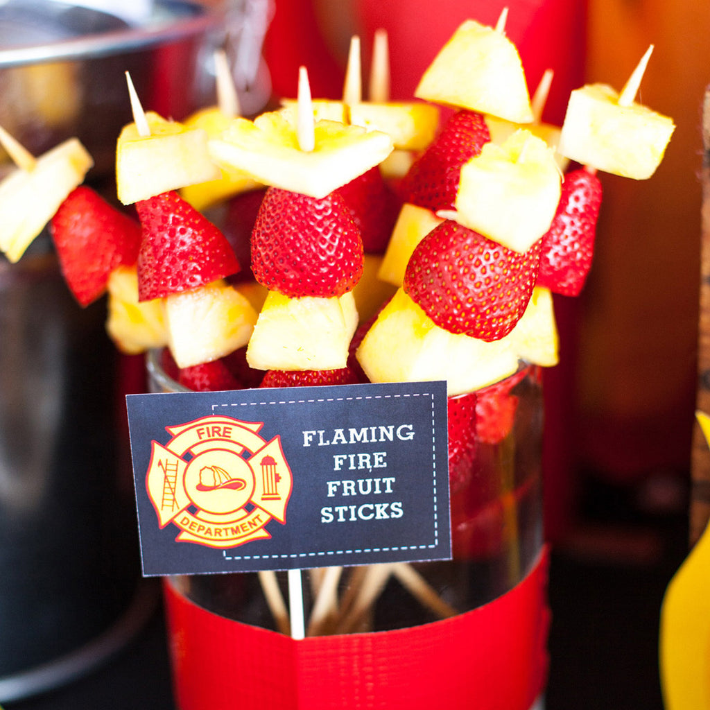 Fireman Party Food Labels | Firefighter Tent Cards