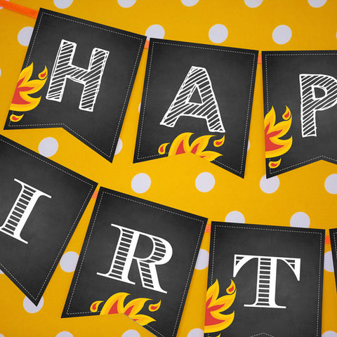 Chalkboard Fireman Party Birthday Banner