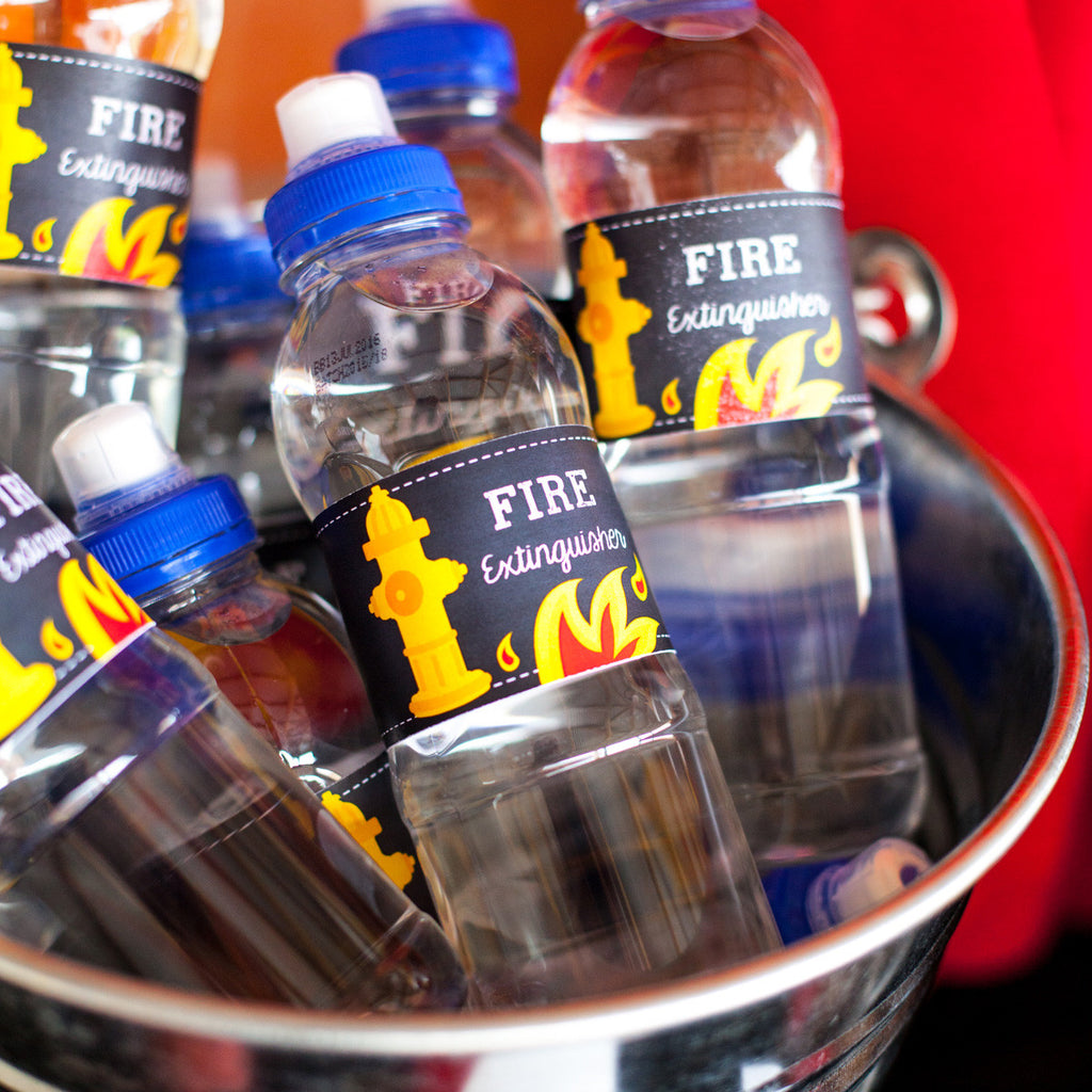 Fireman Party Water Bottle Labels | Firefighter Drinks Labels