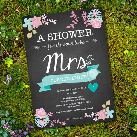 Shabby Chic Chalkboard Floral Bridal Shower Invitation