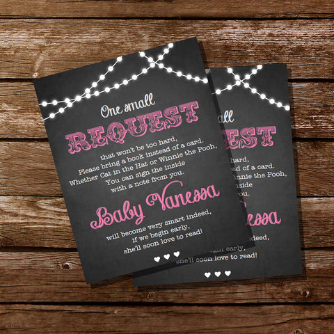 Chalkboard BBQ Baby Shower Bring A Book Insert Cards For a Girl