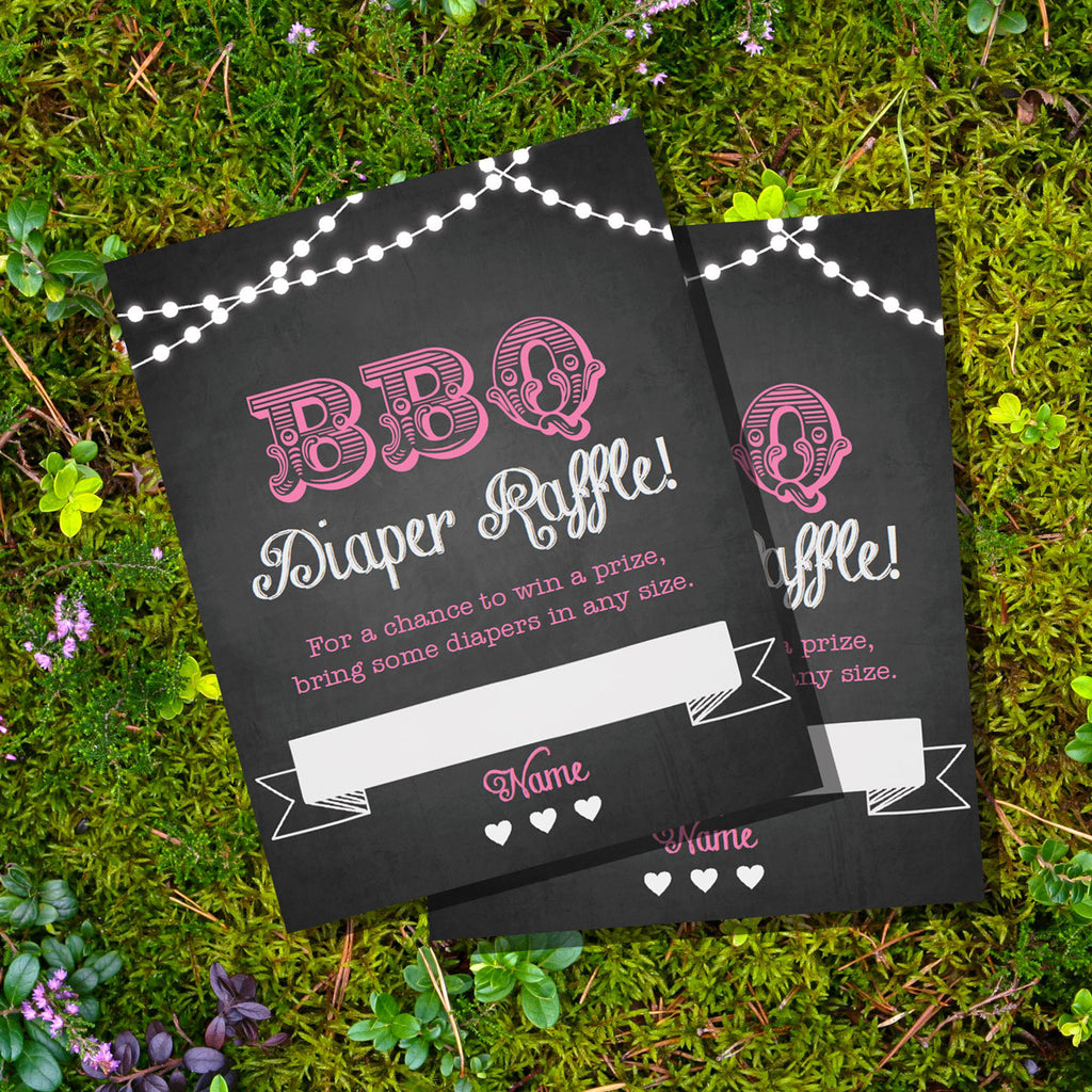 Chalkboard BBQ Baby Shower Diaper Raffle Cards For a Girl