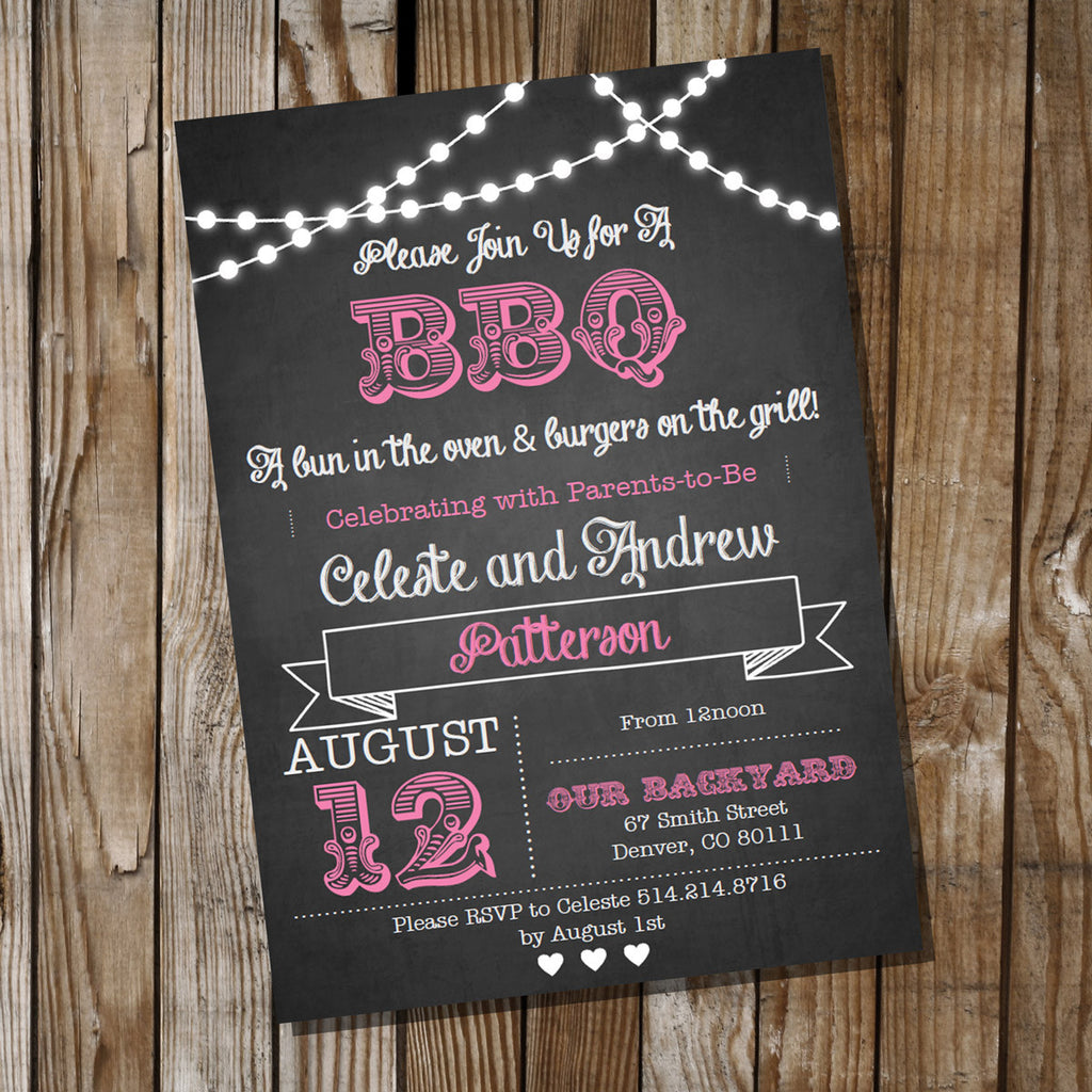 Chalkboard BBQ Baby Shower Invitation in Pink for a Girl