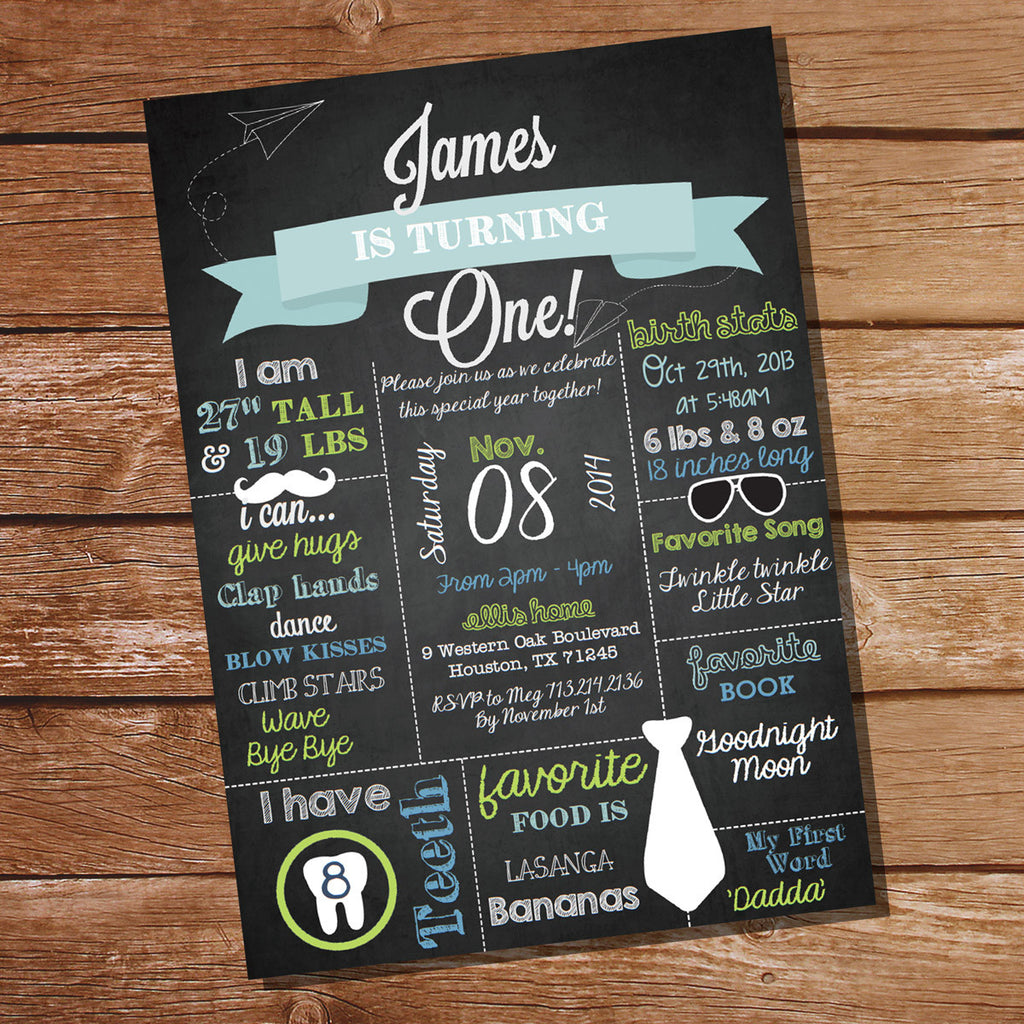 Chalkboard First Birthday Party Invitation | Birthday Invite Template