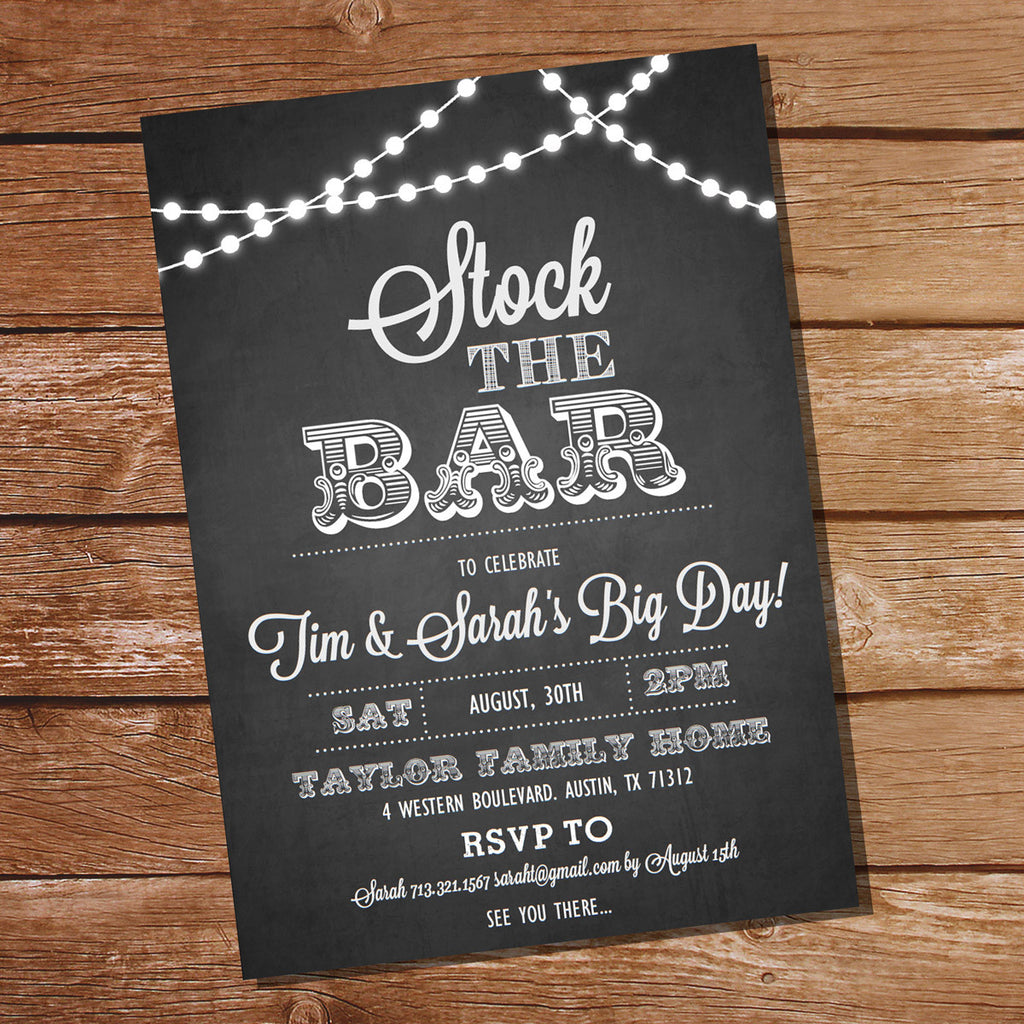 Stock The Bar Chalkboard Couples Shower Invitation