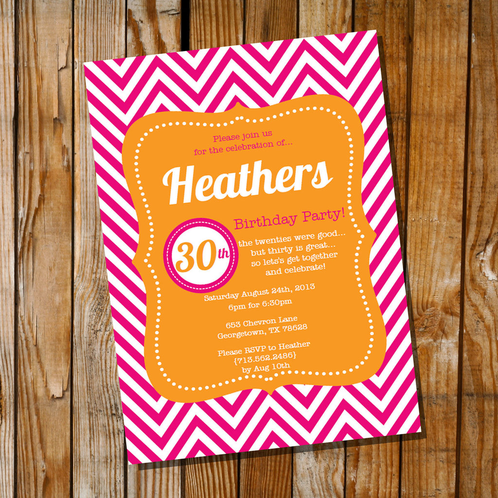 Orange and Pink Chevron Birthday Invitation