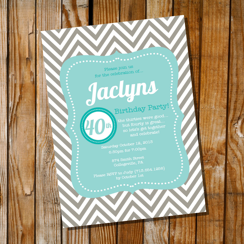 Teal and Taupe Chevron Birthday Invitation
