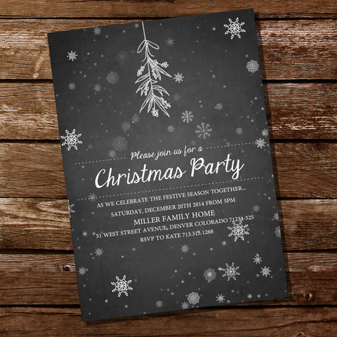 Chalk Style Christmas Tree /& Snowflakes Personalised Christmas Party Invitations