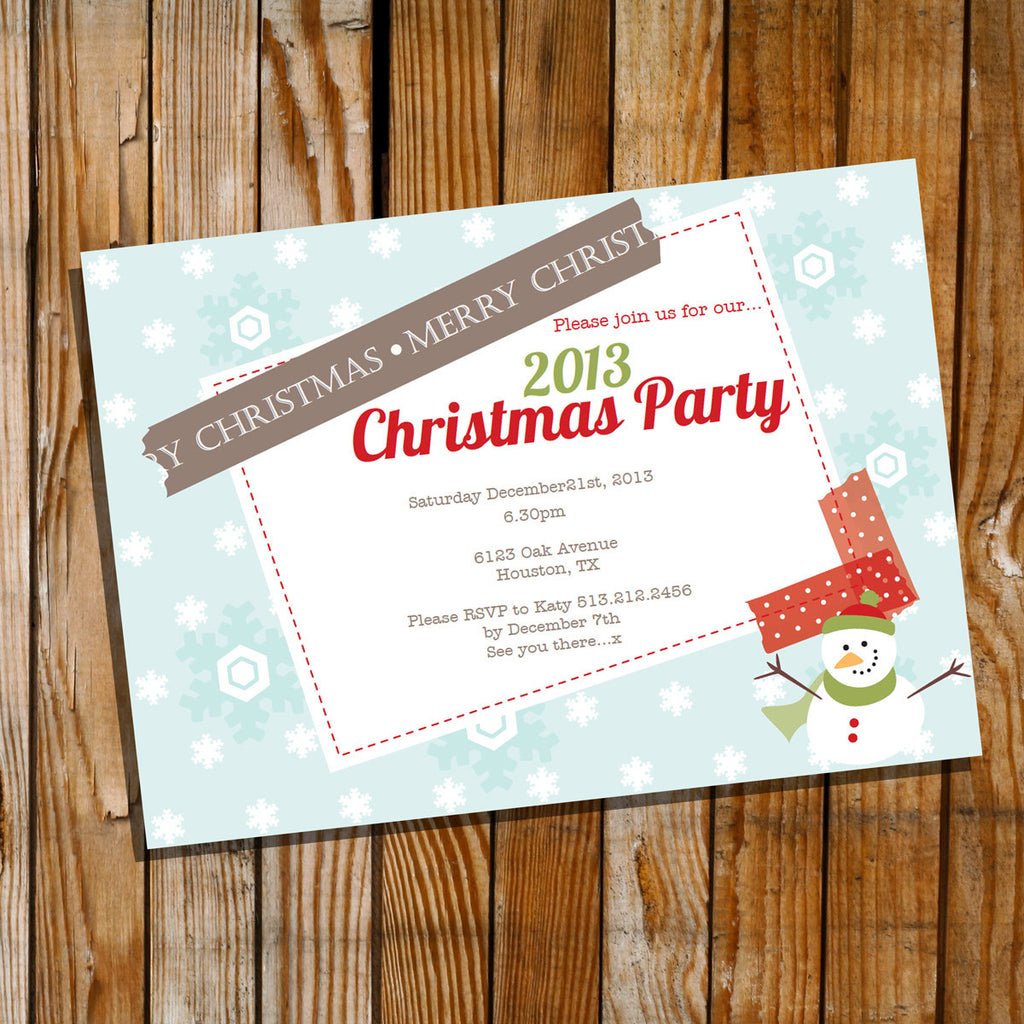 Snowman Christmas Party Invitation