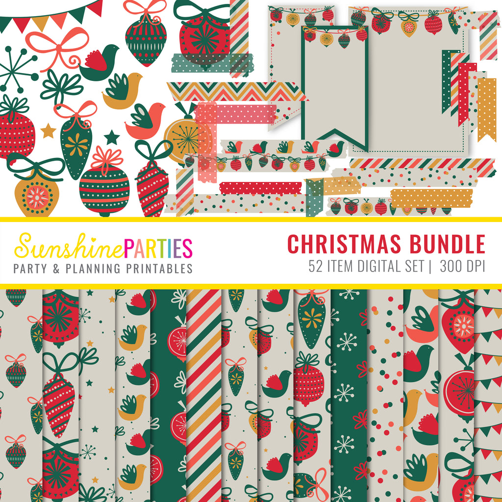 Traditional Christmas Digital Paper Set Bundle