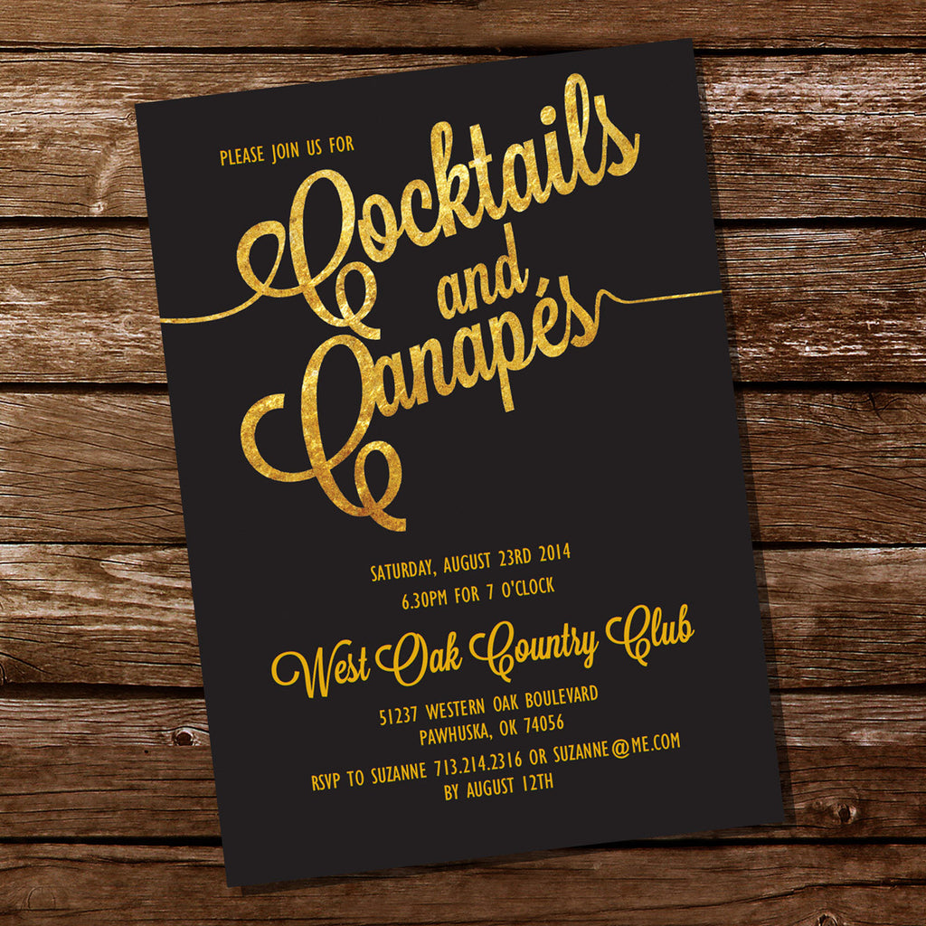 Gold Cocktail And Canapes Party Invitation