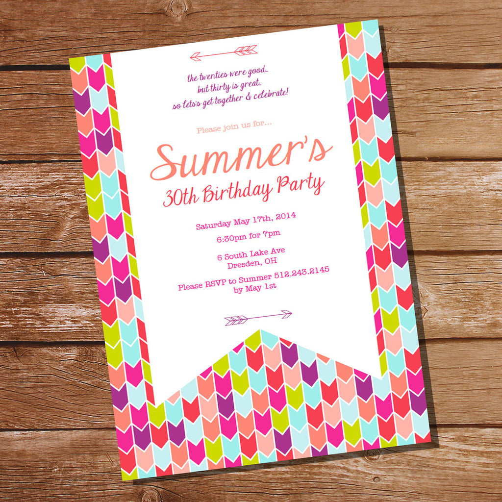 Tribal Aztec Chevron Birthday Party Invitation